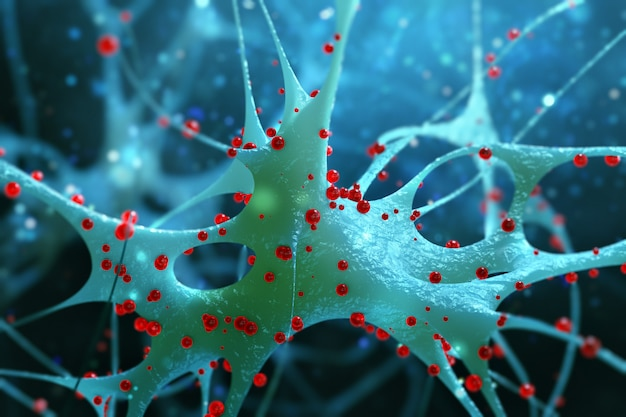 Nerve cells isolated on blue