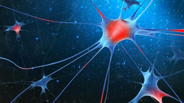 블루에 고립 된 신경 세포