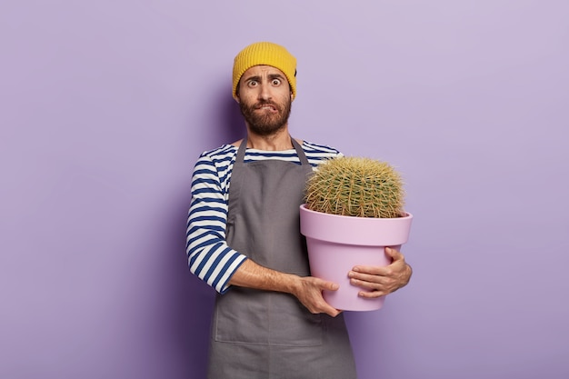 Nervous gardener posing with a big  potted cactus