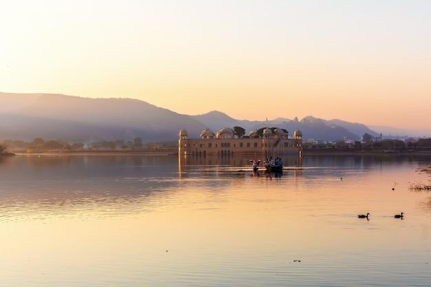 Nests in the man sagar lake by the jal mahal palace, amer, jaipur, rajasthan, india.