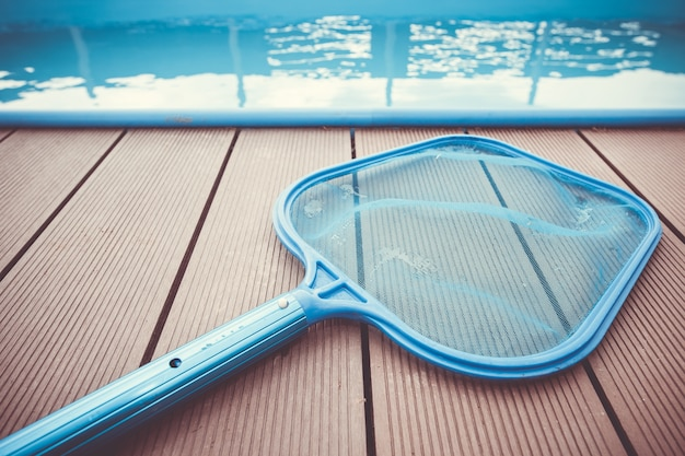 Net by the swimming pool