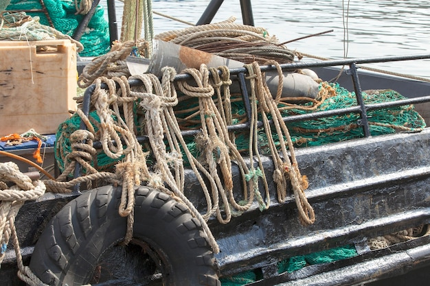 Net and ropes for fishing boat on kamchatka