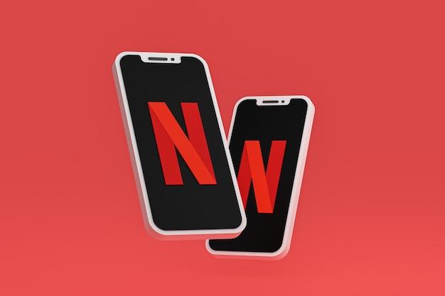 Значок netflix на экране смартфона или мобильного телефона 3d визуализации