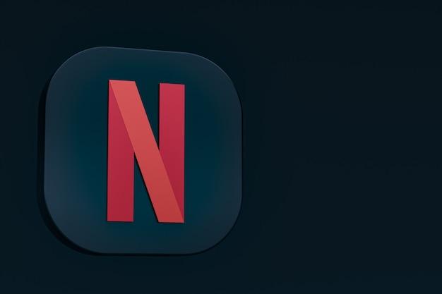 Минимальный логотип netflix 3d-рендеринга