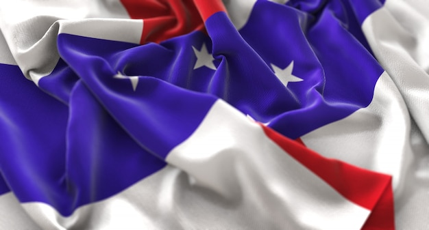 Netherlands antilles flag ruffled beautifully waving macro close-up shot
