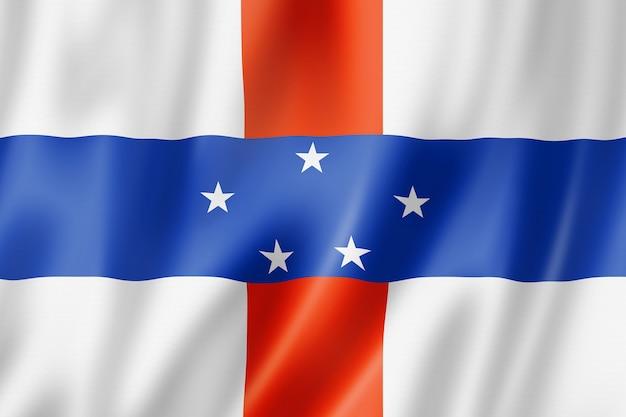 Netherlands antilles flag. waving banner collection. 3d illustration