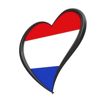 Флаг нидерландов внутри сердца. евровидение 2020 в голландии на белом фоне. 3d рендеринг