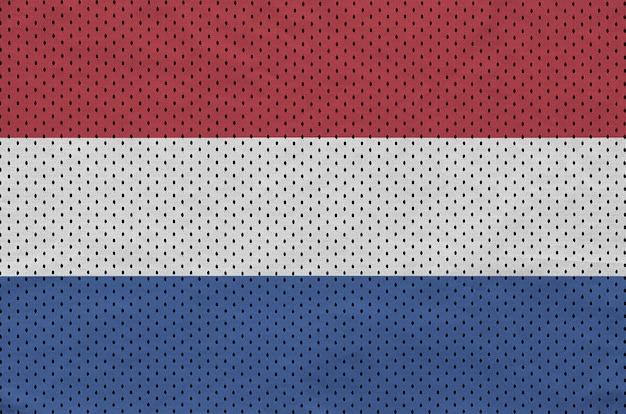 Netherlands flag printed on a polyester nylon sportswear mesh fabric