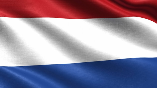 Netherlands flag, with waving fabric texture