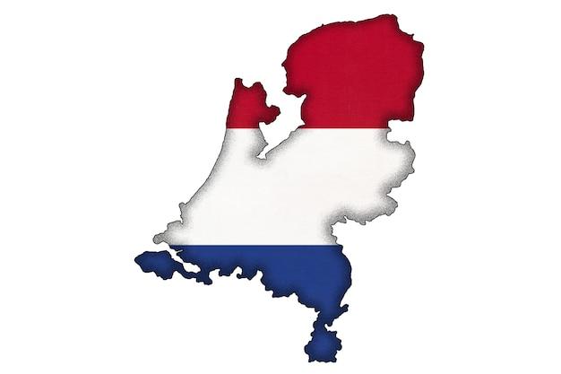 흰색 배경에 복사 공간이 분리된 국기가 있는 네덜란드 또는 네덜란드 국경 실루엣. 지리 지도에 세계 유럽 국가의 윤곽. 네덜란드 공식 사인, 지도 제작.