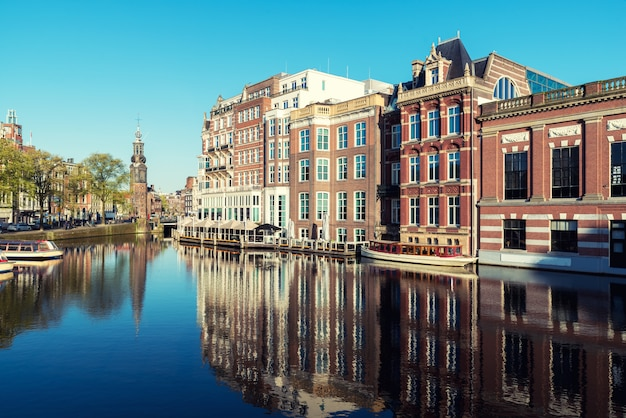 Netherlands traditional houses and amsterdam canal in amsterdam ,netherlands.