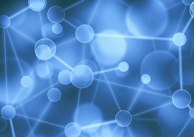 Network abstract background. neural, social network blockchain network science connection structure concept. virtual blue background with particle molecule structure genetic and chemical compounds
