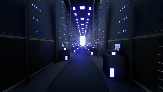 Сеть и серверы данных за стеклянными панелями в серверной комнате дата-центра или isp 3d renderin