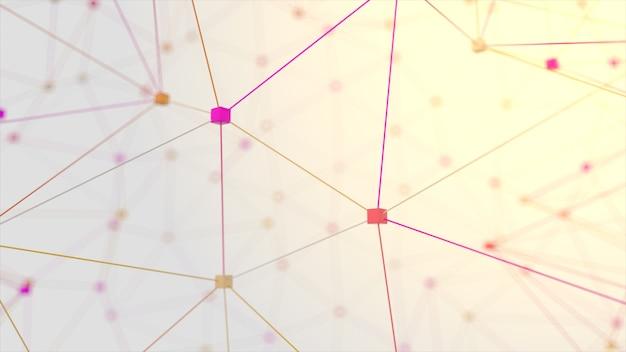 Сетевая анимация подключила куб на белом фоне. 3d иллюстрация