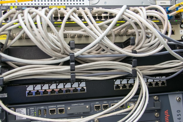 Network cables in the connector.