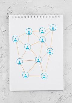 Concetto di rete con vista dall'alto del notebook