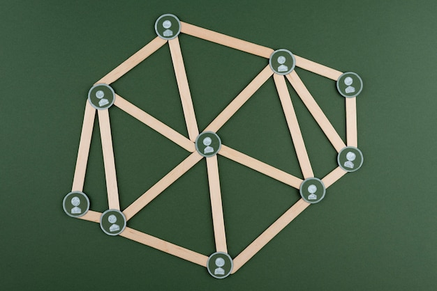 Концепция сети с палками над видом