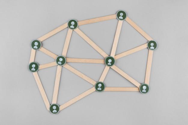 Concetto di rete con bastoncini