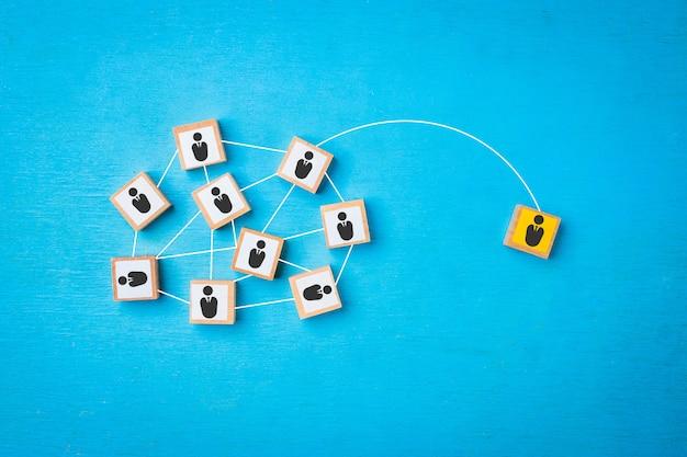 一人から社会へのネットワーク接続の概念。