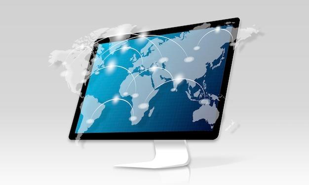 컴퓨터 화면에 네트워크 연결 그래픽 오버레이 배경