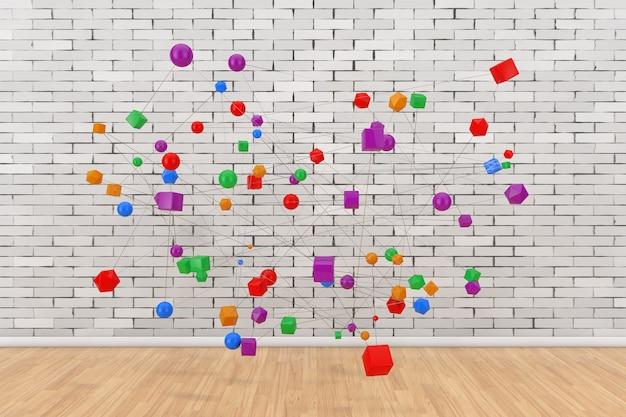 Концепция сетевых подключений. абстрактные цветные фигуры, связанные с линиями перед кирпичной стеной. 3d рендеринг