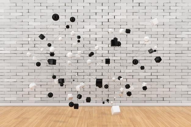Концепция сетевых подключений. абстрактные фигуры, связанные линиями перед кирпичной стеной. 3d рендеринг