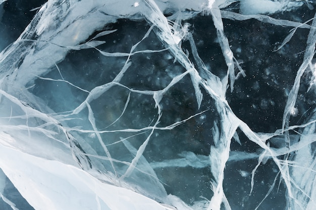 Network of cracks in thick solid layer of ice