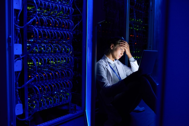 Network engineer working at night