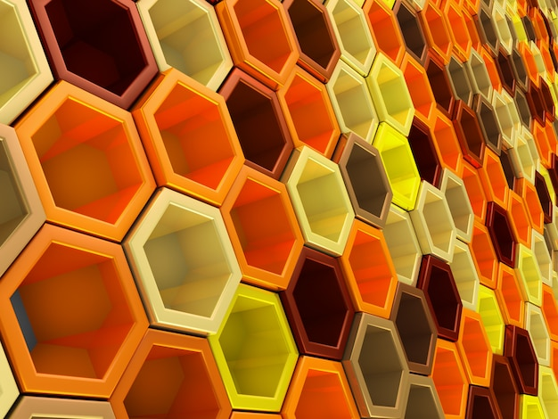 A network of hexagons yellow hue, which change height  background
