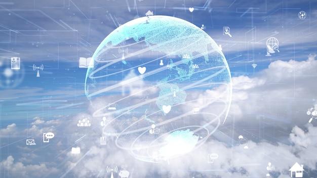 空に浮かぶ雲上の接続近代化のネットワーク Premium写真