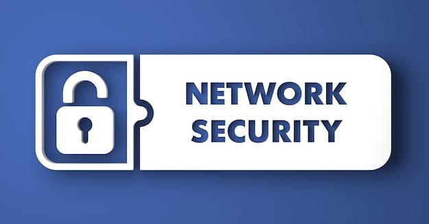 ネットワークセキュリティの概念。フラットなデザインスタイルの青い背景の上の白いボタン。