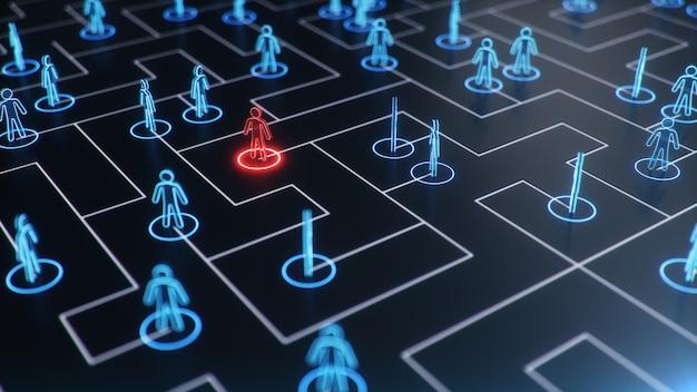 Структура сети между людьми, обмен данными