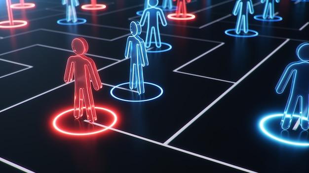 Network structure between people, data exchange