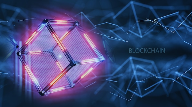 Network structure of technology. the concept of blockchain technology. technological abstract cube with data. digital background.