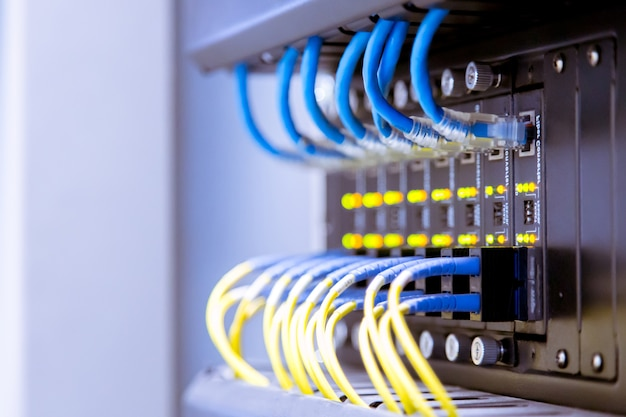 Network switch and ethernet cables,data center concept.