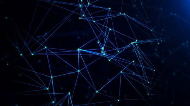 Network with nodes connected background. technology concept