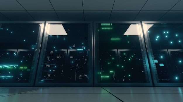 Сетевые серверы и серверы данных за стеклянными панелями в серверной.