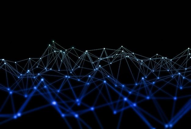 네트워킹 연결 라인 구조 또는 기술 추상 배경.