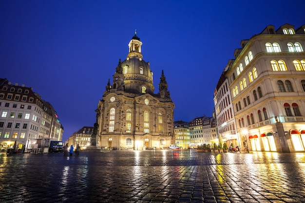 The neumarkt square and frauenkirche in dresden at night.