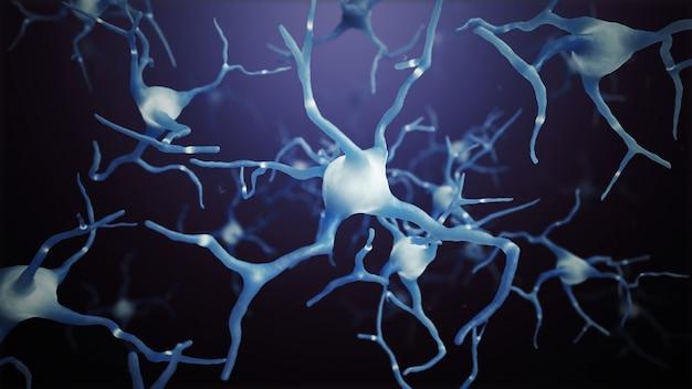 Neuron cells on a dark background