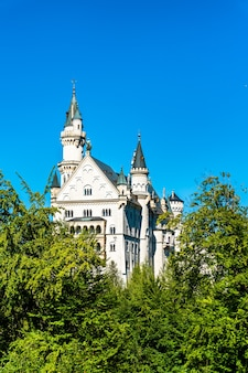 Замок нойшванштайн на холме в баварских альпах, германия