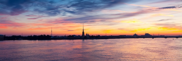 Neva river in dawn. saint petersburg