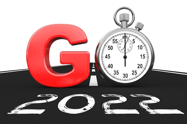 New 2022 year concept. stopwatch as go sign over 2022 new year road on a white background. 3d rendering