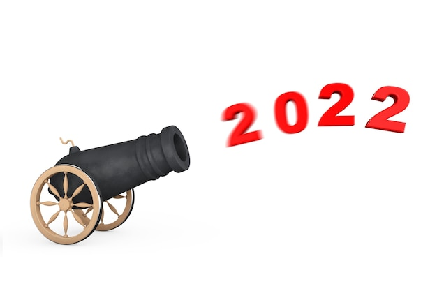New 2022 year sign shoot from cannon on a white background. 3d rendering