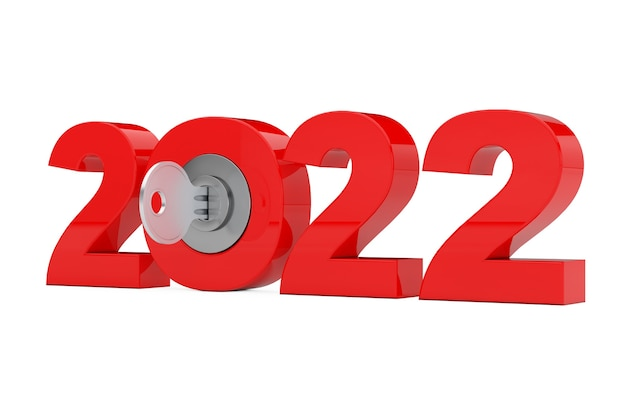 Новый знак 2022 года с ключом на белом фоне. 3d рендеринг