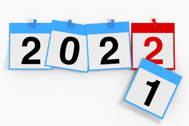 新しい2022年のスタートコンセプト。白い背景に2022年の新年のサインとカレンダーシート。 3dレンダリング