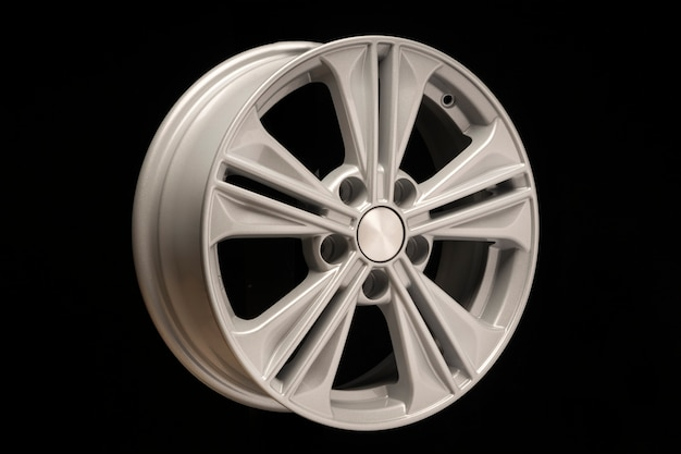 New aluminum alloy wheel, silver color on a black space