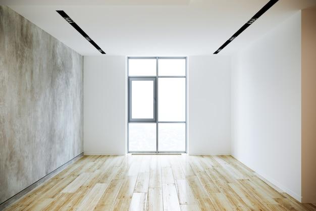 Новая квартира с деревянными панелями и декоративной штукатуркой. 3d рендеринг