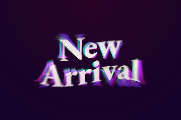 Nuova parola dello shopping di arrivo nella tipografia del testo anaglifo