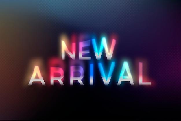 Parola di acquisto di nuovo arrivo nell'illustrazione di tipografia di carattere psichedelico al neon colorato